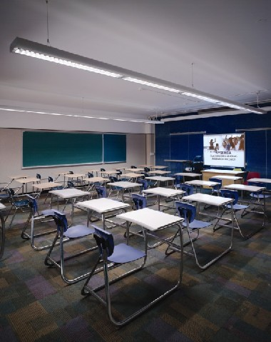 Hunter High classroom with the lights on A/V Mode