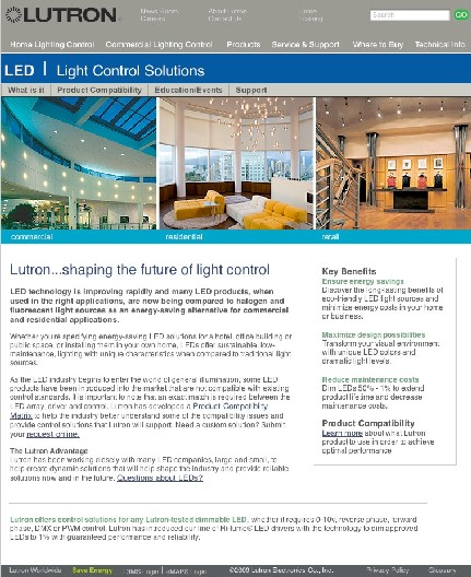 Lutron launches LED website